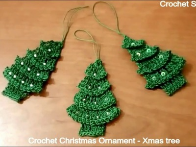 How to make quick & easy crochet Christmas Ornament - Xmas tree