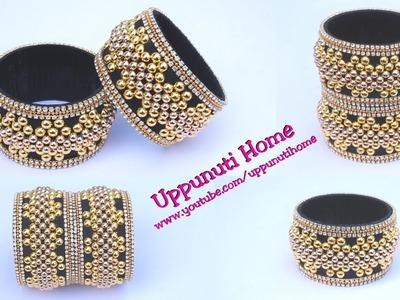 How To Make Silk Thread Bridal Bangles At Home |  Designer Kada Side Bangles | DIY | Uppunutihome