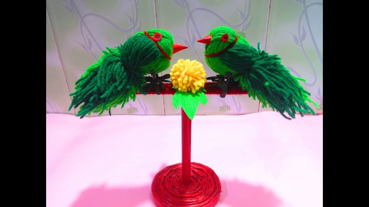 HOW TO MAKE WOOLEN PARROT  BIRDS IN SIMPLE STEPS