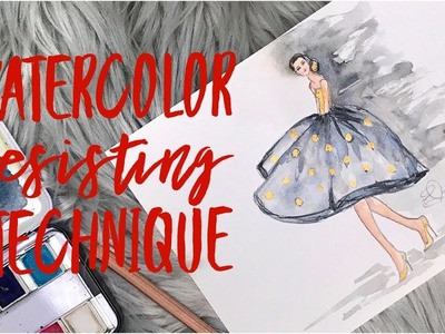 How To Paint Watercolor Fashion Illustration for Beginners Water Resisting Technique Oil Pastels