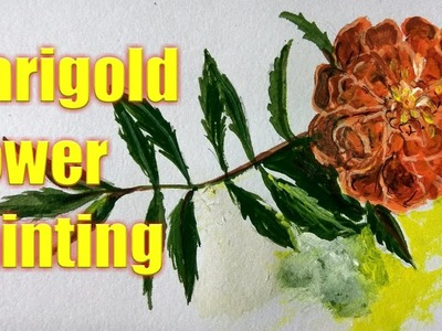 Marigold flower painting#how to draw and paint Marigold flower in acrylic colours