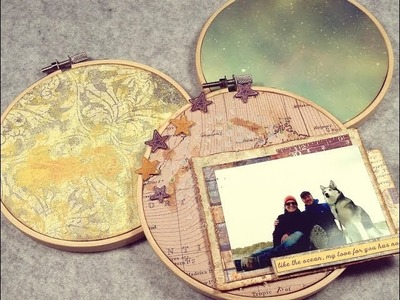 Mini Tutorial - Cover an embroidery hoop with paper - Scrapbook Layout (english)