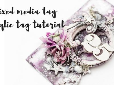 Mixed media acrylic tag tutorial | How to make a mixed media tag