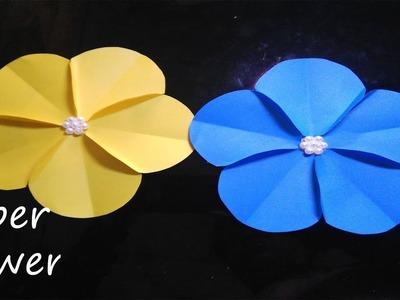 Paper Flower making- nice flower- 5 petals- tutorial- pearl centered