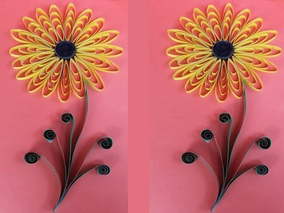 Quilling Sunflower Tutorial !!! How to Make Easy Quilling Sunflower For Wall Decoration!!!!