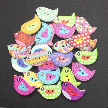 bird shaped wooden buttons