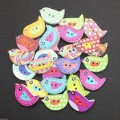 bird shaped wooden buttons