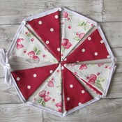 Bunting in Strawberry Chintz & Red Dotty Fabric