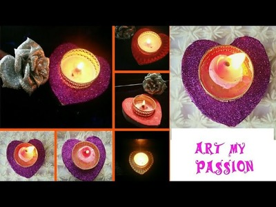 Cement candle holder.DIY How to make.heart shape candle holde.handmade.diya holder.artmypassion 21