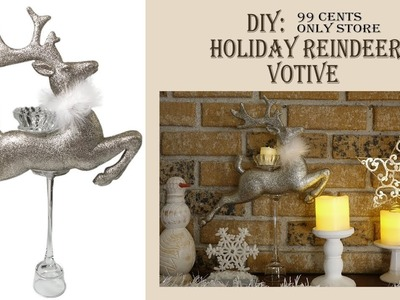 Christmas. Holiday DIY. Reindeer Votive.99 Cents Only Store