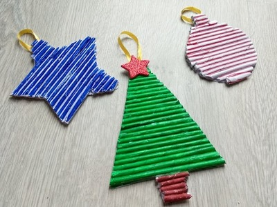 DIY christams ornaments with Newspaper |Christmas tree door hanging | best out of waste ideas paper