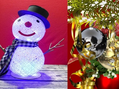 DIY Christmas decor special.DIY Creative String Snowman With Balloon