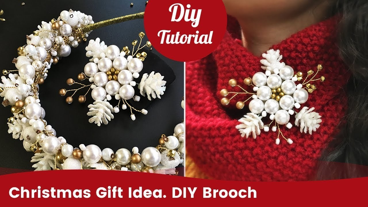 DIY Christmas Gift Idea. Handmade Beaded Pearl Brooch.