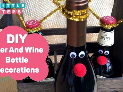 DIY Christmas Gift Idea - Reindeer Beer And Wine Bottle Decor