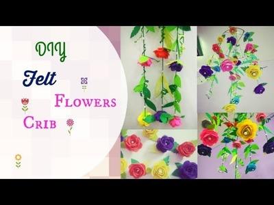 DIY Felt Flowers Crib Decor | Crib hanging