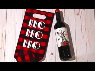 DIY HTV Christmas wine gift bag with Cricut Easy Press