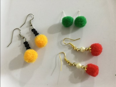 DIY Pom Pom Earrings. How to make pom pom earrings