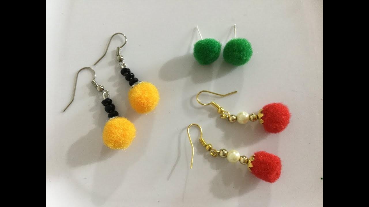DIY Pom Pom Earrings. How to make pom pom earrings