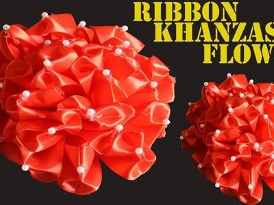 DIY Ribbon flower || Wedding Decoration Flower || Satin Kanzashi Flower || Homemade Crafts