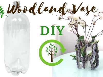 DIY Woodland Flower Vase using a Plastic Bottle | Botanical Nature Crafts | Vase Decor Ideas
