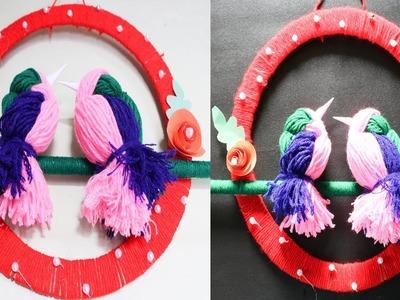 DIY Woolen Bird Wall Hanging for Home Decoration | Woollen Bird Wall Hanging making | Eti's Etc