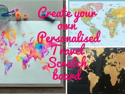 DIY your own Personalised Travel Scratch World Map Poster | room decor or gift | ABHINAYA DHINAKARAN