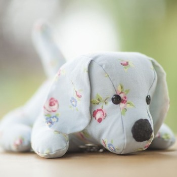 Dog Doorstop in Blue Rose Bud Fabric