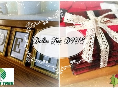 Dollar Tree Christmas DIY - Framed Words & Buffalo Plaid Coasters
