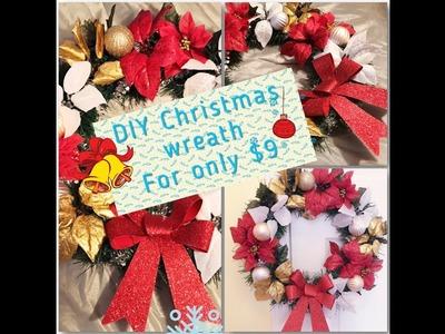 Easy Christmas Wreath DIY. dollar tree Christmas decorations 2017
