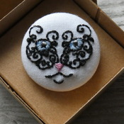 Hand Embroidered Mystical Cat Brooch