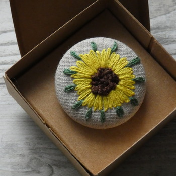 Hand Embroidered Sunflower Brooch