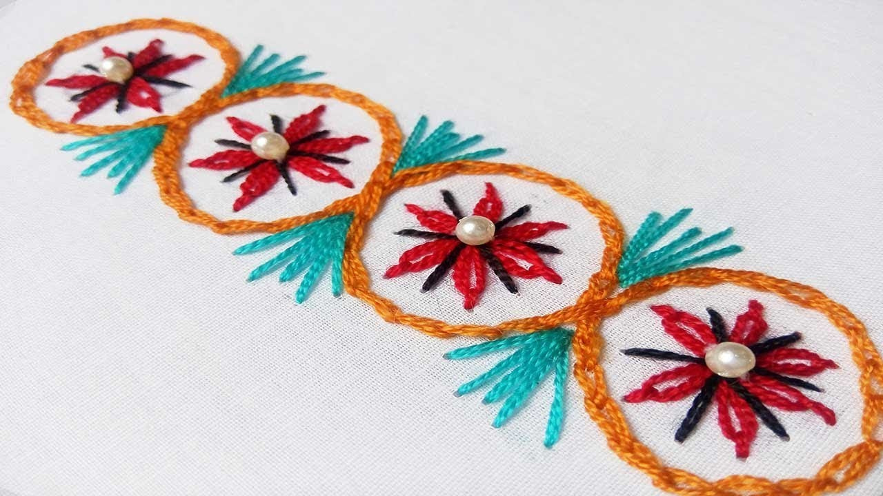 Hand Embroidery Designs Rder Line Stitches Tutorial For