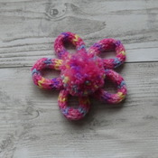 Hand Knitted Pink Variegated Daisy Brooch