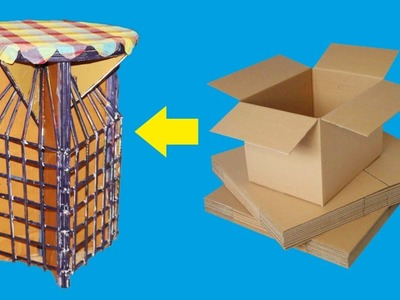 How to make a beautiful Stool from cardborad very easily, Diy cardbord stool from cardboard.