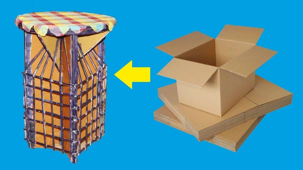 How to make a beautiful Stool from cardborad very easily, Diy cardbord stool from cardboard.