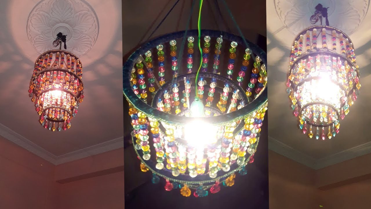 How to make jhumar wall hanging decoration diy crystal chandelier how to make jhumar wall hanging decoration diy crystal chandelier home decorating ideas mozeypictures Gallery