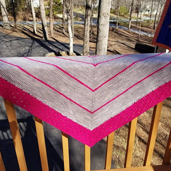 Knit shawl in two-tone gray and dark pink, lacy and striking stripes, 100 percent light worsted merino wool with merino and silk pink edge