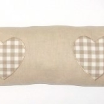 Linen Draught Excluder with Taupe Check Hearts