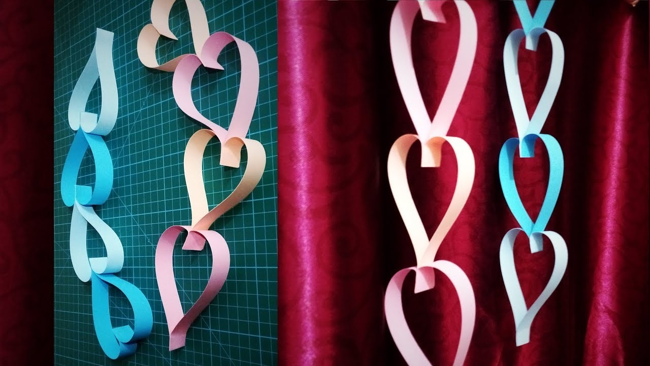 Paper Heart Hangings | How To Make Beautiful heart Shaped Decoration | DIY Wall Hanging