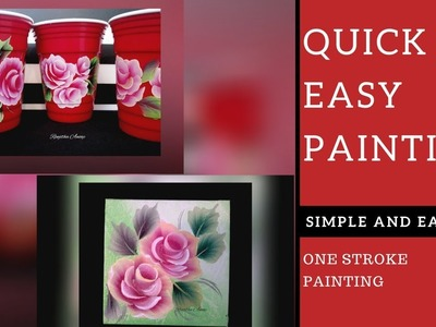 Quick and Easy Diy painting ????  | Simple and easy Rose  ???? painting on Canvas | Beginners painting