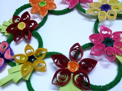 Wall Hanging DIY|| Wall Hanging using Old bangles n woollen|| Quilling Flowers to decorate