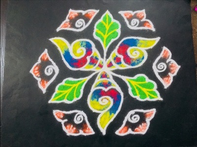 Beautiful Rangoli Design with Colours for Festivals & Competitions 13x7 Easy Rainbow Rangoli design