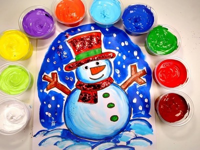 CHRISTMAS CRAFTS FOR KIDS- Snowman Drawing and Painting Coloring Page with Glitter and Googly Eyes