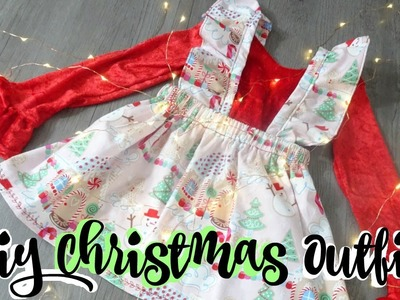 DIY Christmas Outfit ( Ruffled Sleeve Long Sleeve Shirt & Ruffled Overall Skirt)