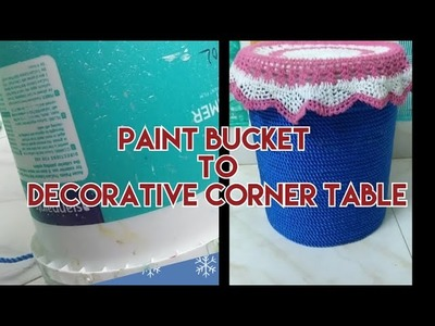 DIY : Decorative corner Table from an old paint bucket|| Reuse your old paint bucket||Purple fly