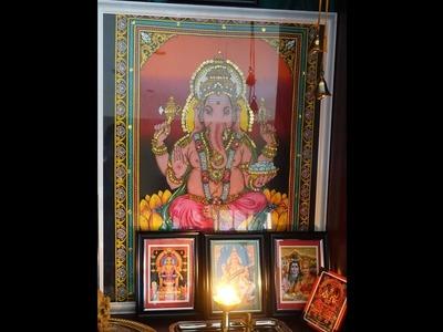 DIY Pooja Setup | How to frame Photo.Art for less | Mandir Photo Setup.