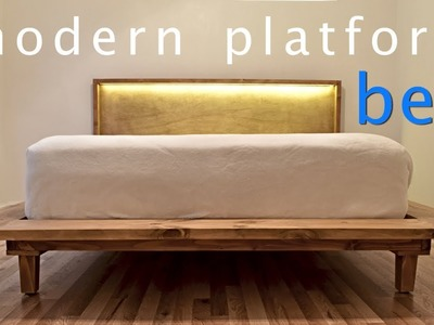 How to Build a Modern Platform Bed w. Lights - DIY