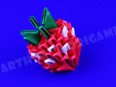 How to make a strawberry of paper ✿ 3D origami tutorial DIY own hands