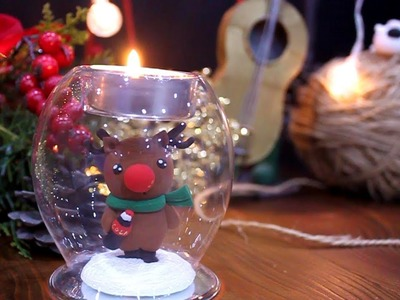 How to make Christmas Rudolph candle holder with clay