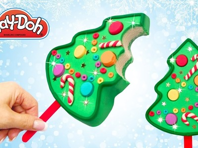 How to make Play Doh Christmas Tree. Xmas Popsicle out of Play Doh. Toy Crafts for Kids